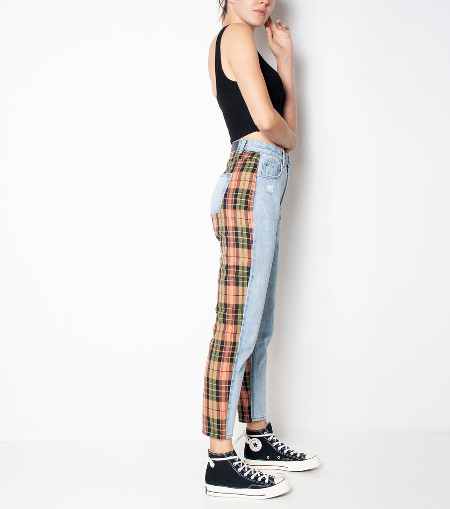 Check It Hi Mum Jean - Orange/ Green Check - Ziggy Denim denim jean with fabric checkes o nthe back orange and black womens ziggy denim
