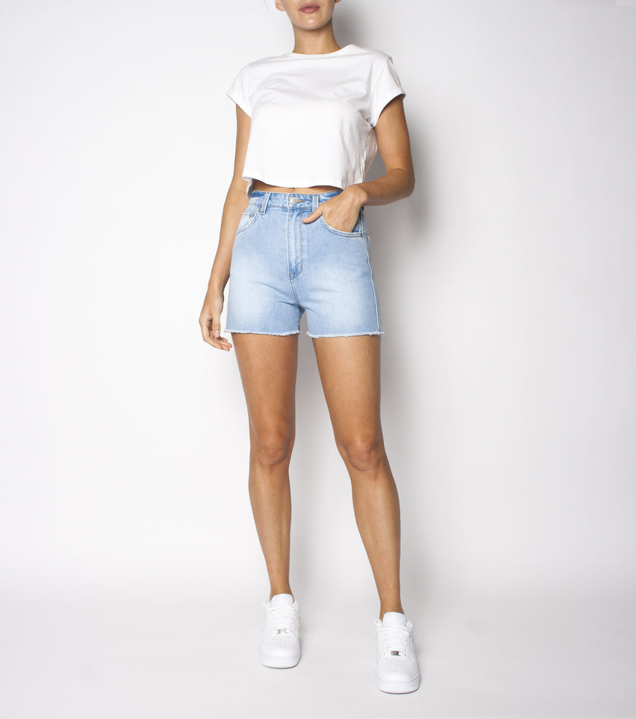 Meet My Mum Short - Blue Club - Ziggy Denim high waisted denim short with raw hem and rip on the bum ziggy denim