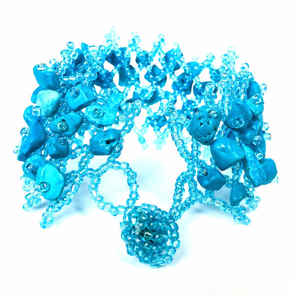 Light Blue Beaded Stone Bracelet