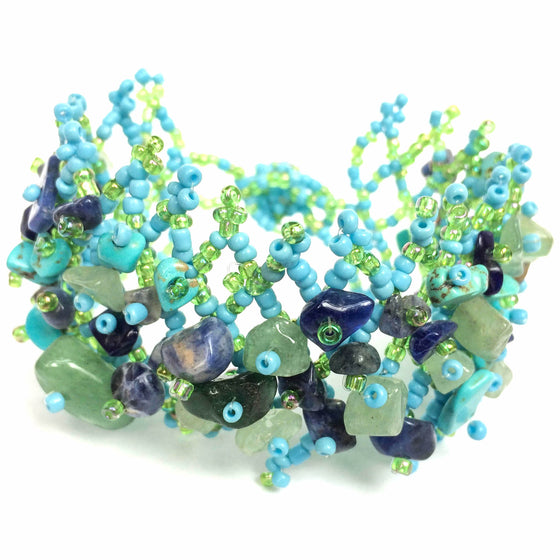 Green and Purple Beaded Stone Bracelet