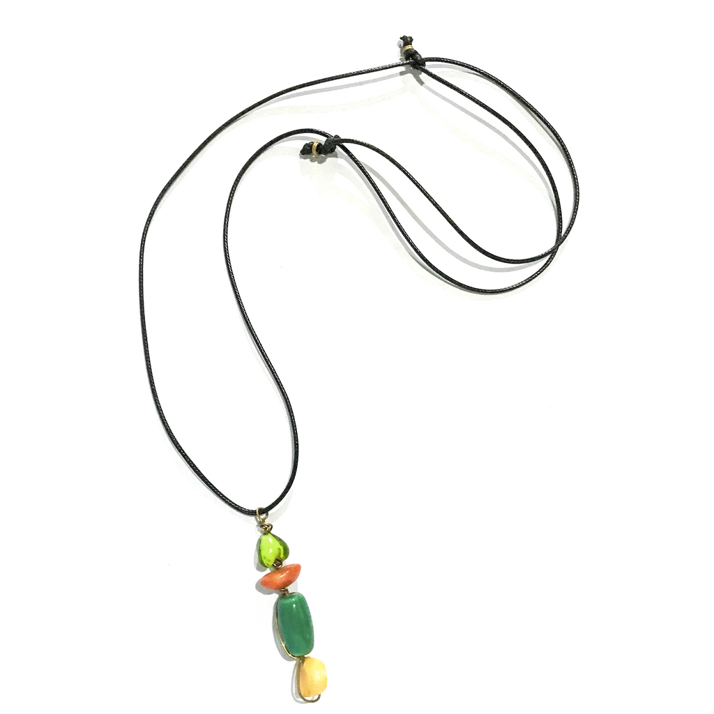 Green, Yellow, and Orange Stone Necklace