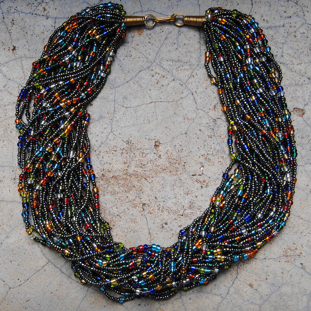 Metallic Multicolor Beaded Necklace
