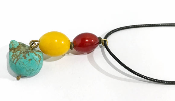 Turquoise, Yellow, and Red Stone Necklace