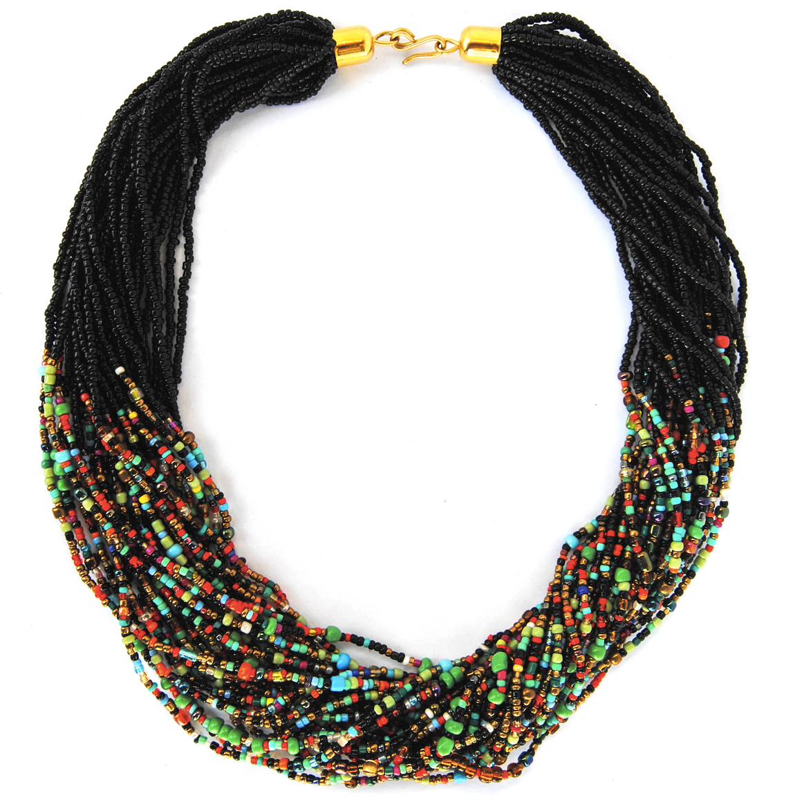 Black and Multicolor Beaded Necklace