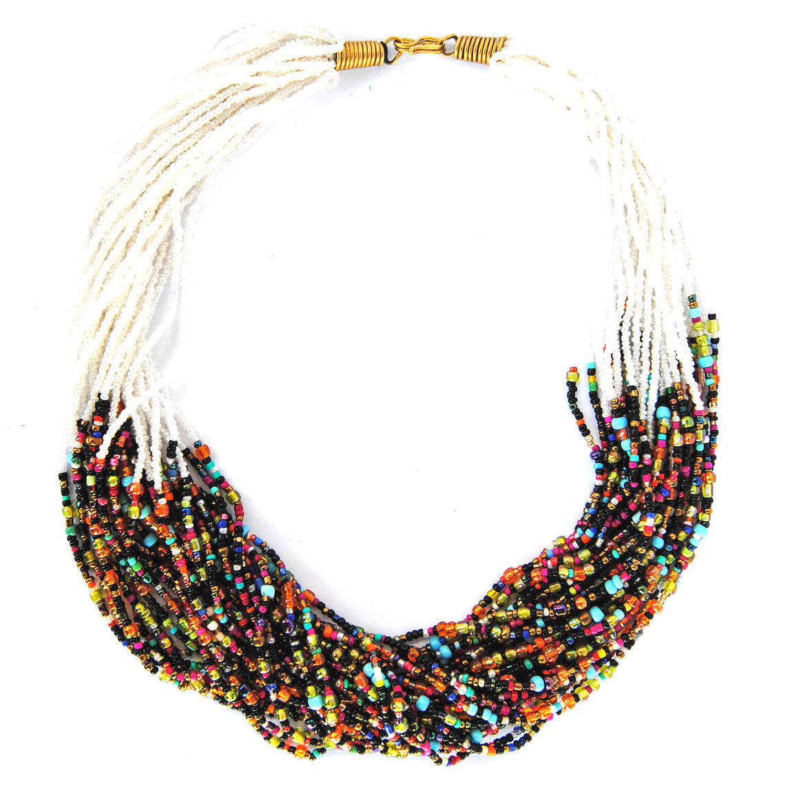 White and Multicolor Beaded Necklace