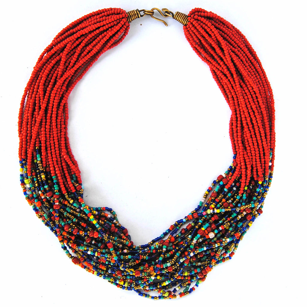 Red and Multicolor Beaded Necklace