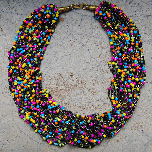 Gold and Multicolor Beaded Necklace