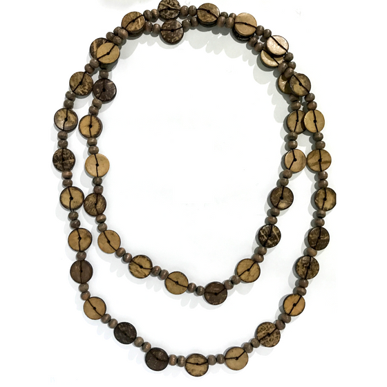 Brown Wood Beads Necklace
