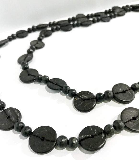Black Wood Beads Necklace