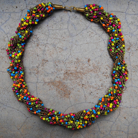 Multicolor and Gold Twist Necklace
