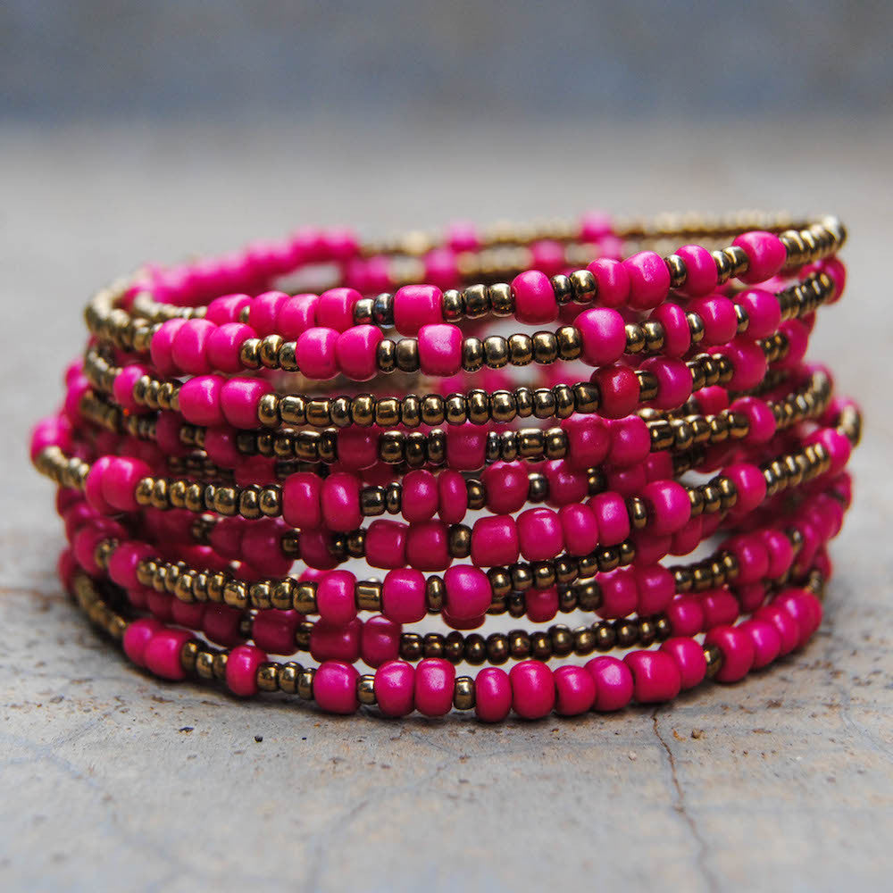 Pink and Gold Beaded Coil Bracelet