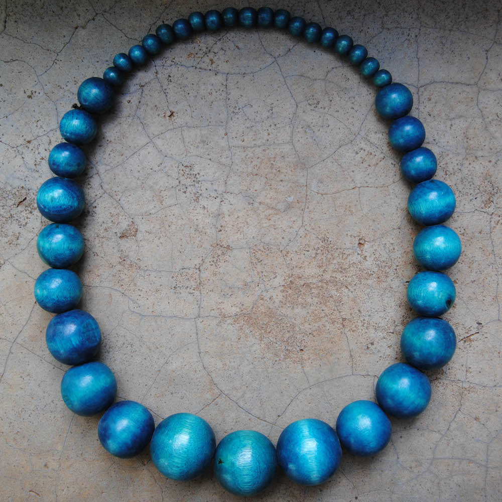 Blue Wooden Beaded Necklace