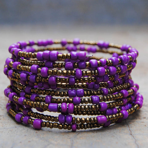 Purple and Gold Beaded Coil Bracelet
