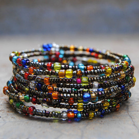 Metallic Multicolor Beaded Coil Bracelet