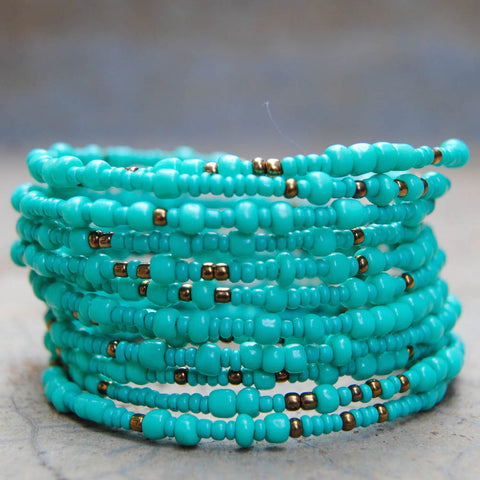 Light Turquoise Beaded Coil Bracelet