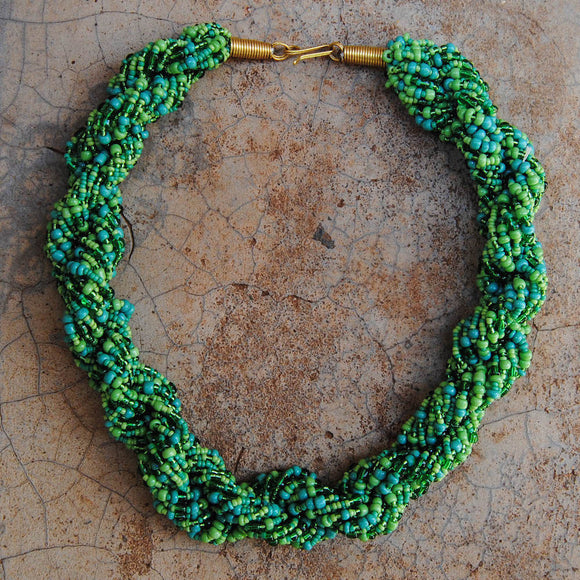 Dark and Light Green Twist Necklace