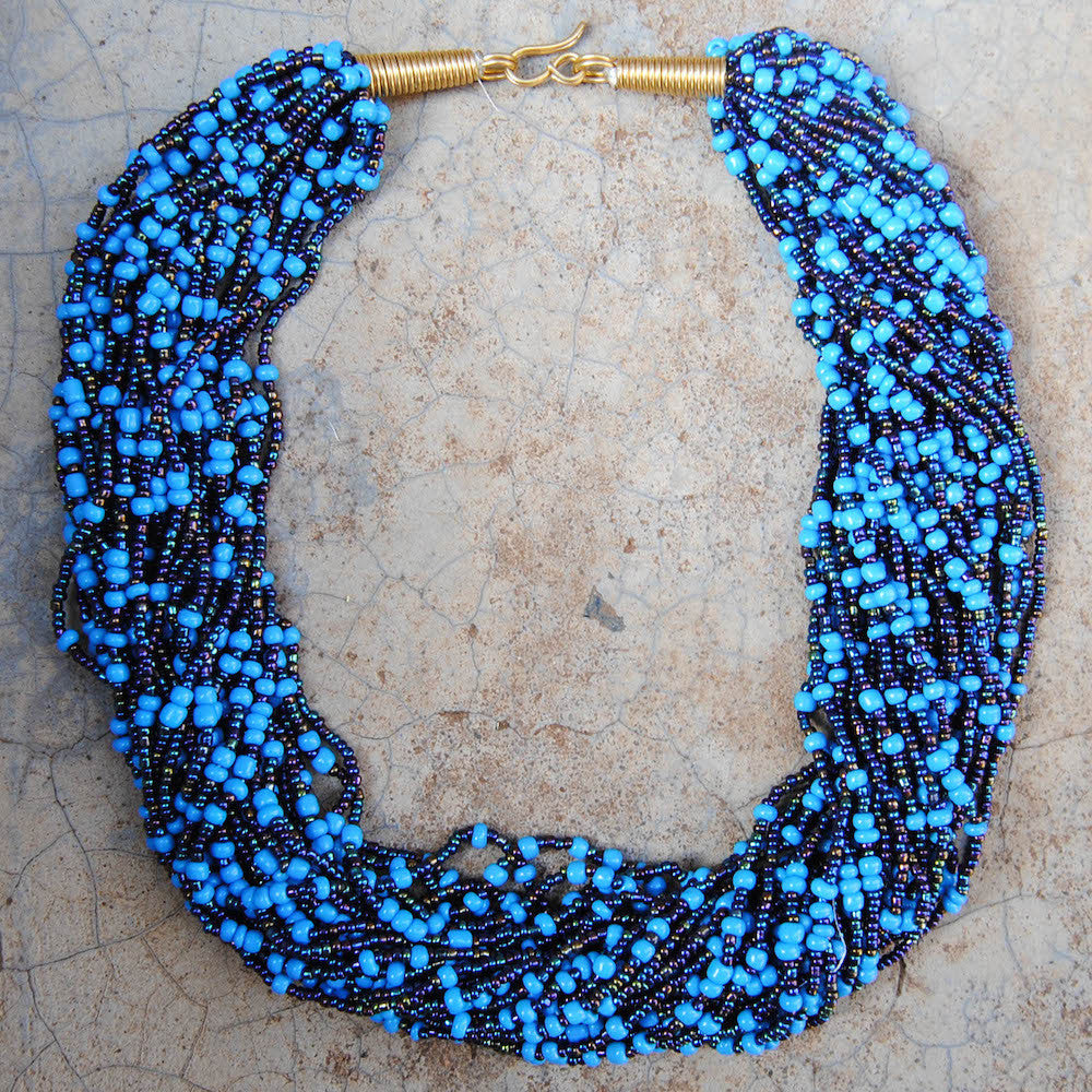 Light and Dark Blue Beaded Necklace