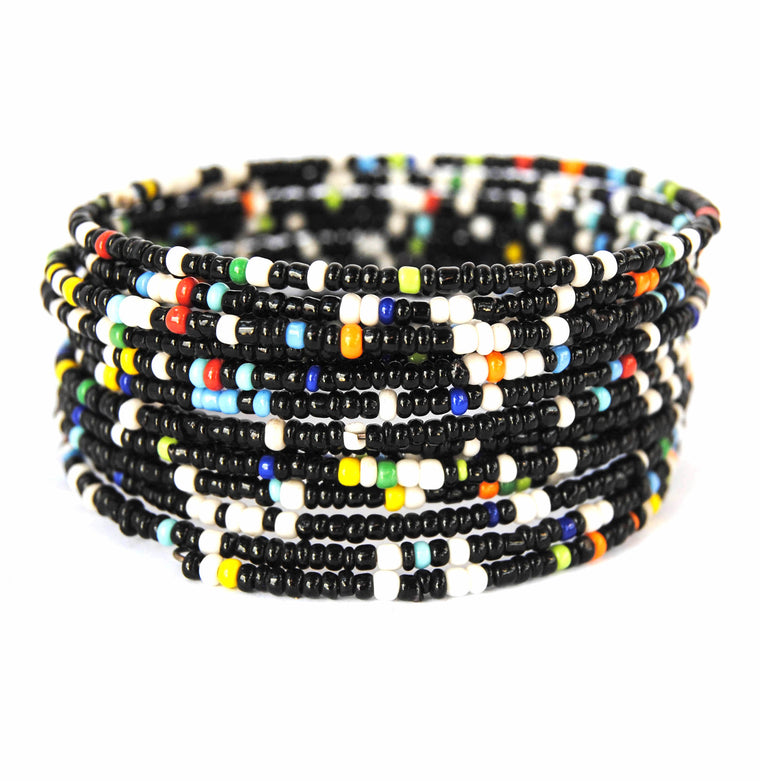 Black and Multicolor Beaded Coil Bracelet