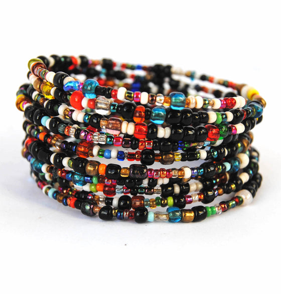 Black and Jewel Toned Multicolor Beaded Coil Bracelet