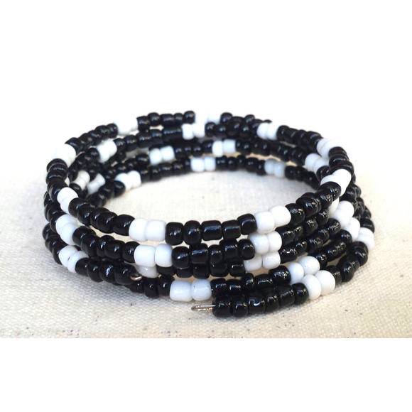 Black and White Beaded Coil Bracelet