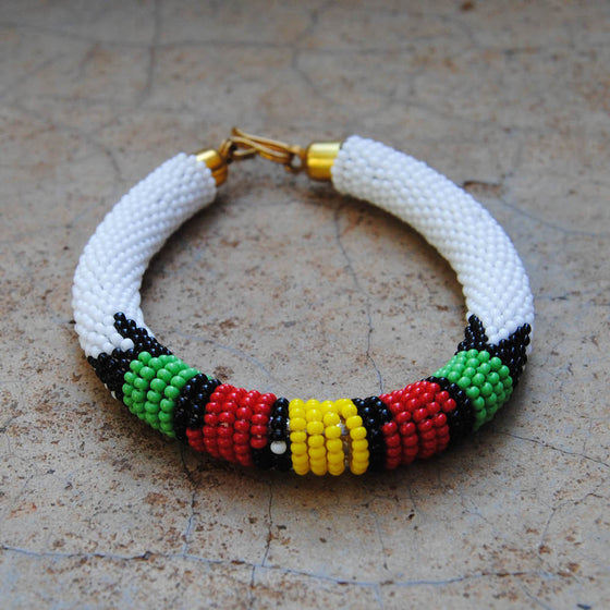 White with Green, Red, and Yellow Maasai Bracelet