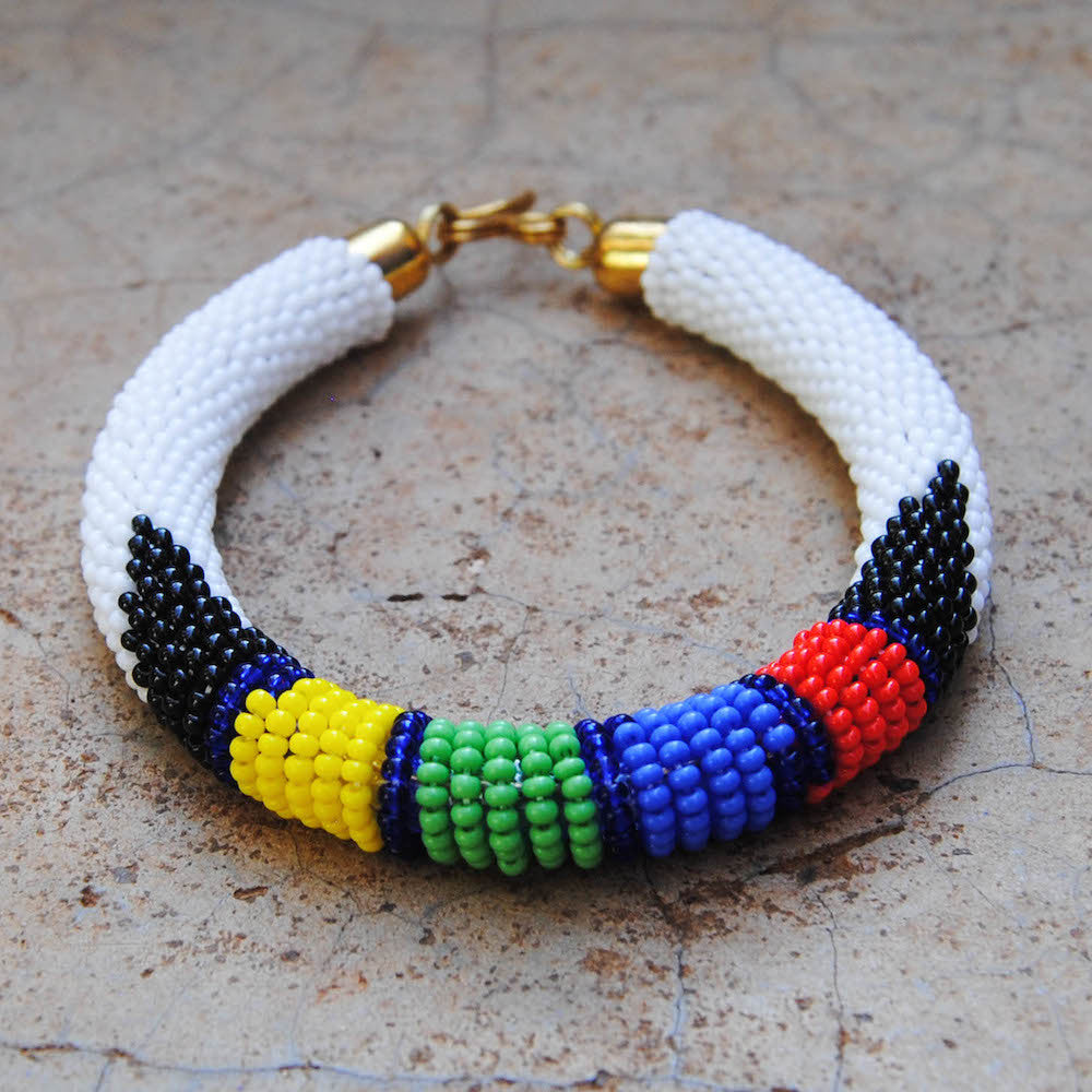 White with Green, Red, Yellow, and Blue Maasai Bracelet