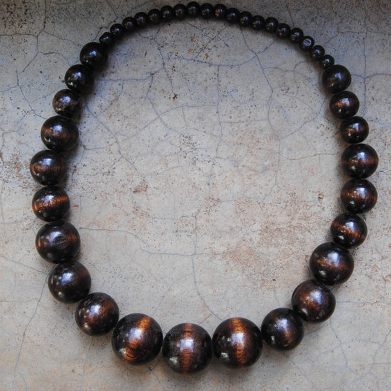 Brown Wooden Beaded Necklace