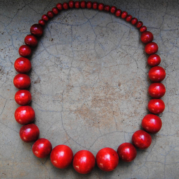 Red Wooden Beaded Necklace