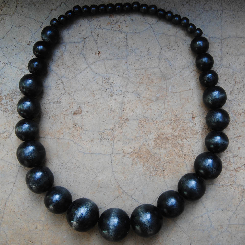 Black Wooden Beaded Necklace