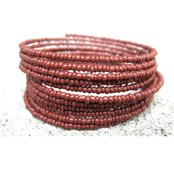 Brown Beaded Coil Bracelet
