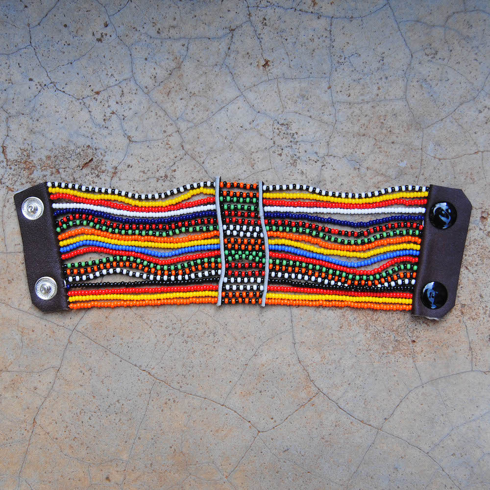 Dotted Lines Maasai Snap Bracelet