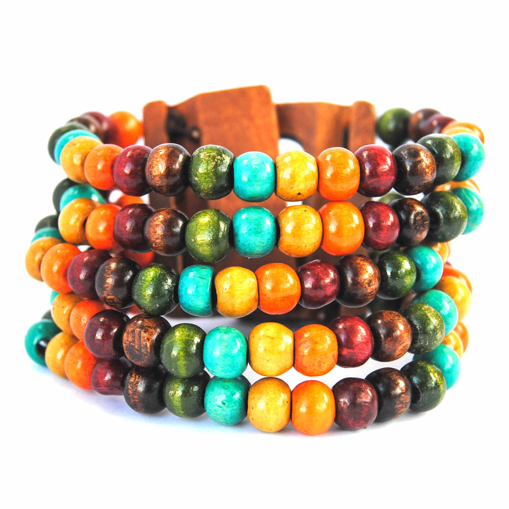 Marroon, Blue, Orange and Green Wooden Bracelet
