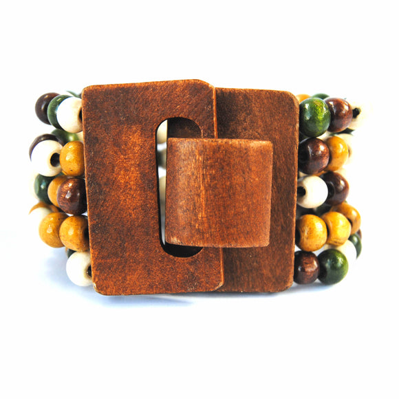 Green, Gold, Brown, White Wooden Bracelet