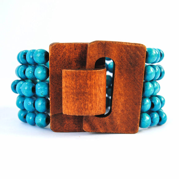 Light Blue Wooden Bracelet