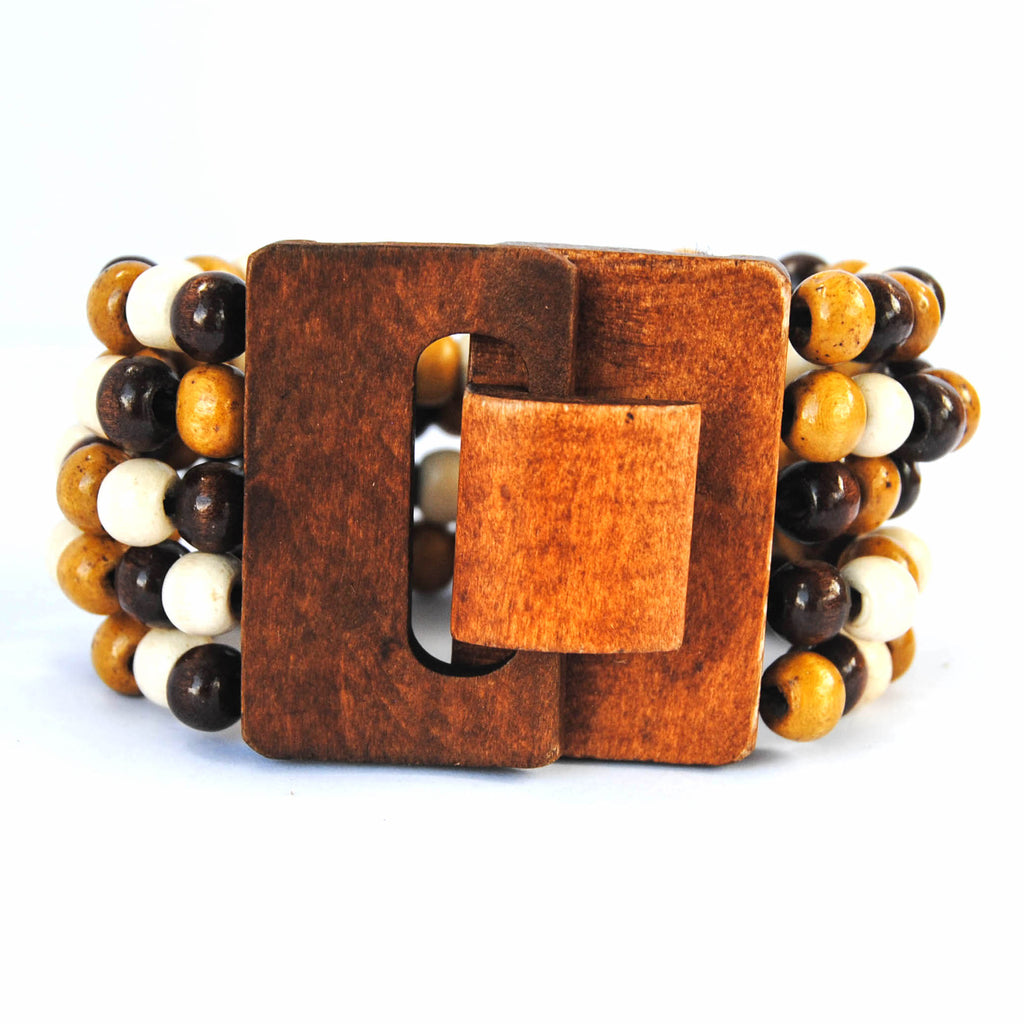 Brown, Gold, and White Wooden Bracelet