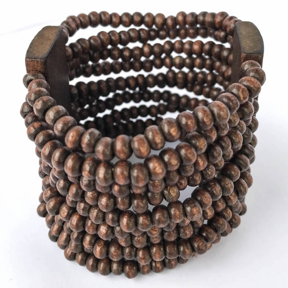 Dark Brown Wooden Stretch Bracelet