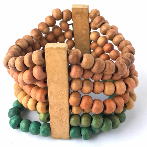 Pink, Brown, and Green Wooden Stretch Bracelet
