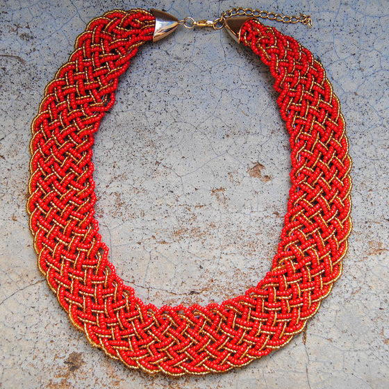 Red Braided Necklace
