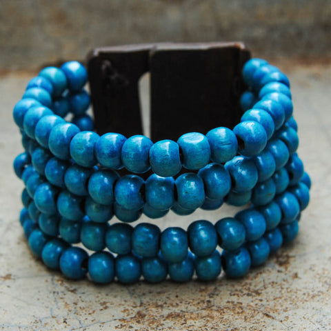 Blue Wooden Beaded Coil Bracelet