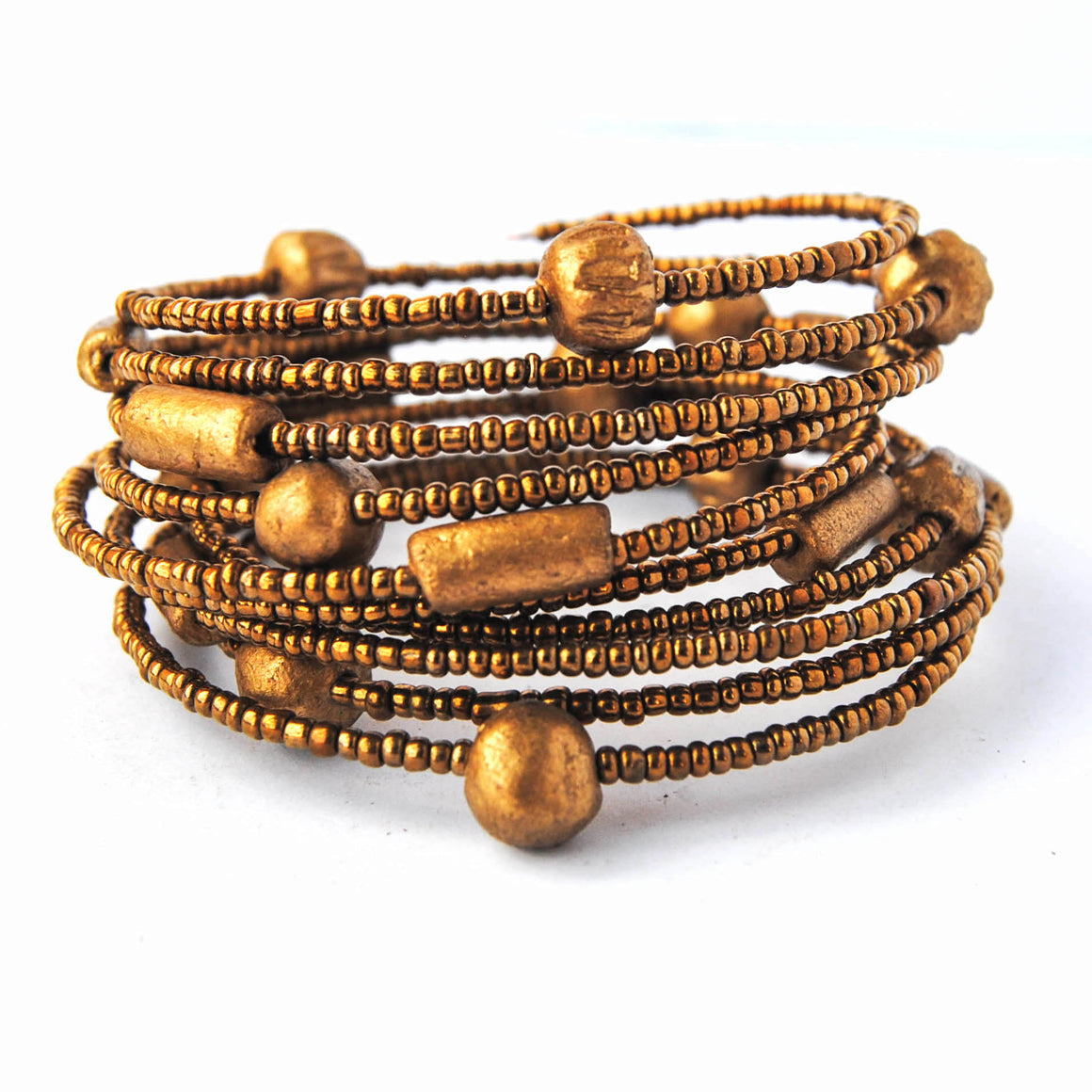 Gold Beads and Stones Coil Bracelet