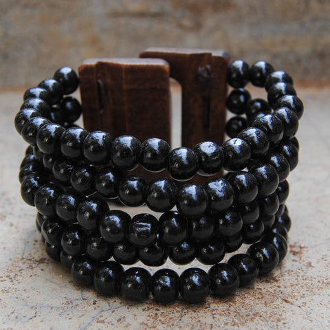 Black Wooden Beaded Coil Bracelet