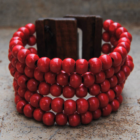 Red Wooden Beaded Coil Bracelet