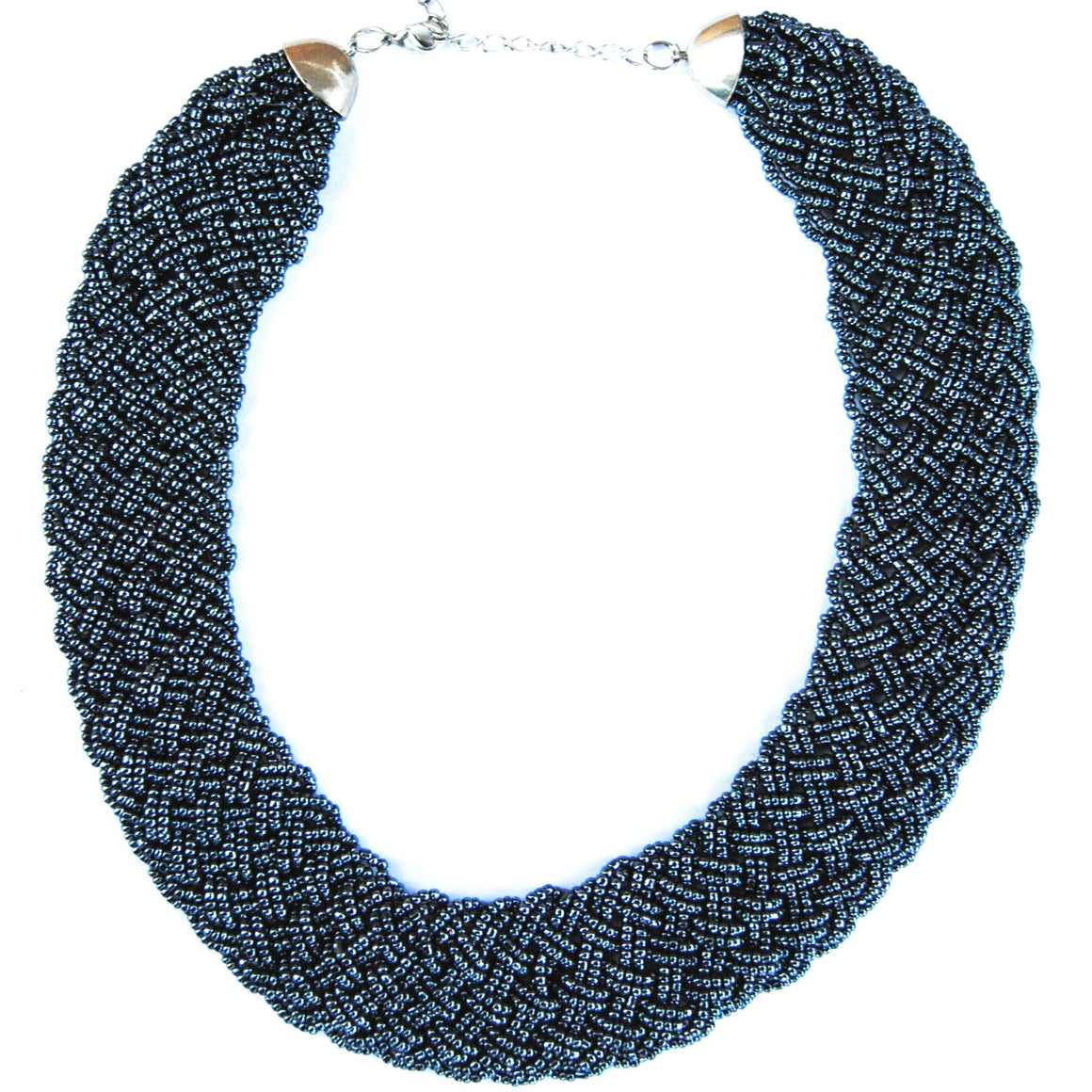 Metallic Navy Braided Necklace