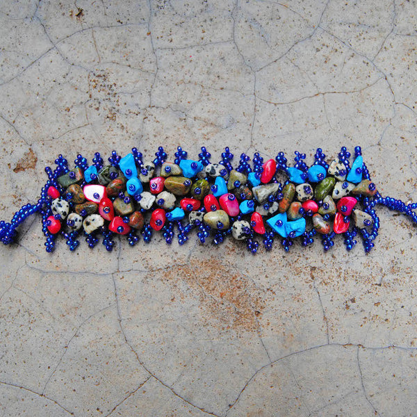Blue and Pink Beaded Stone Bracelet