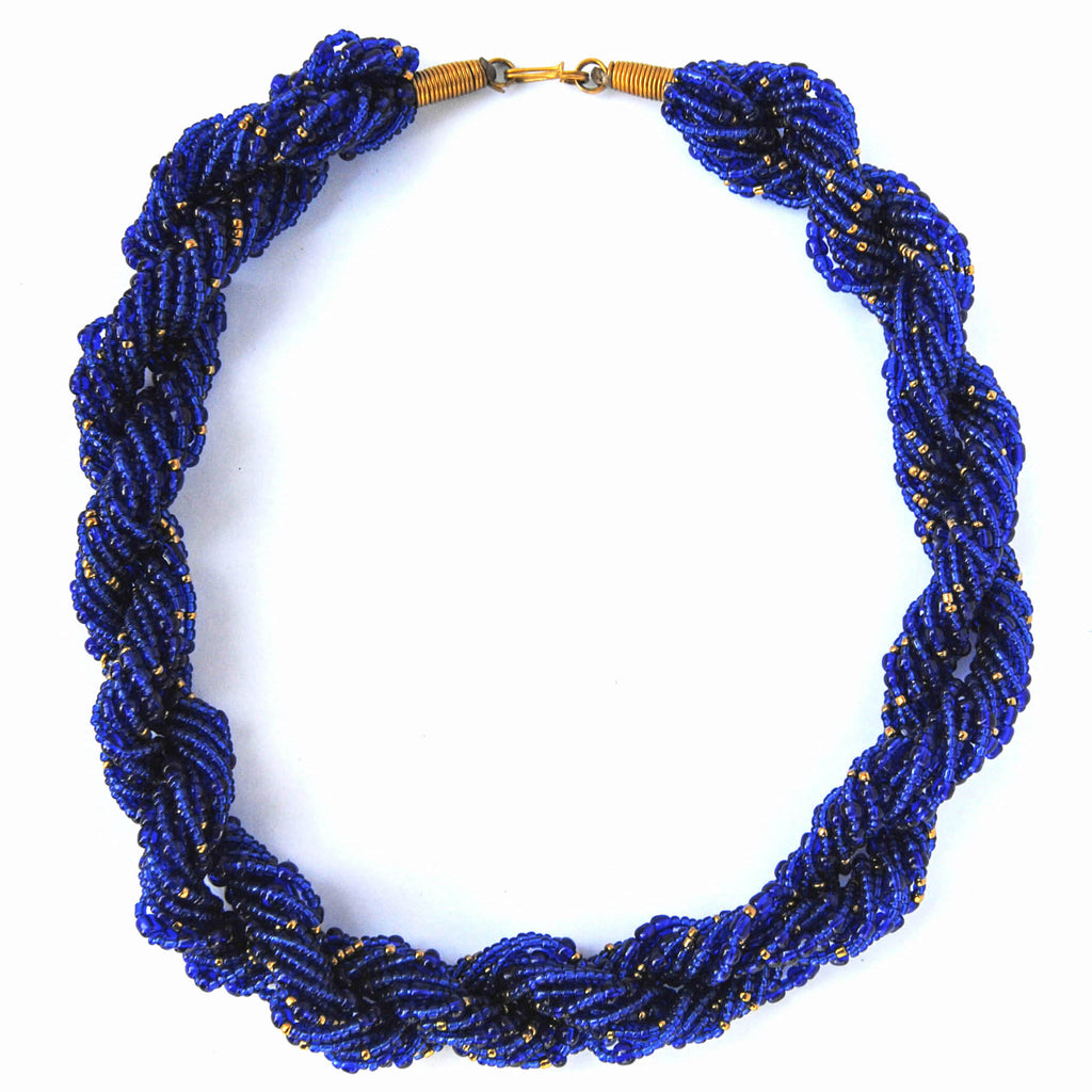 Navy Blue Twist Necklace