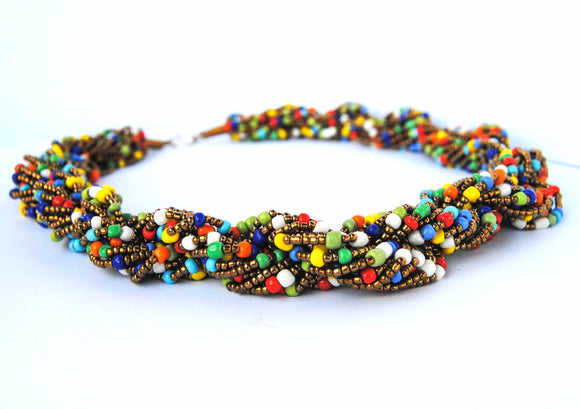 Gold and Multicolor Twist Necklace