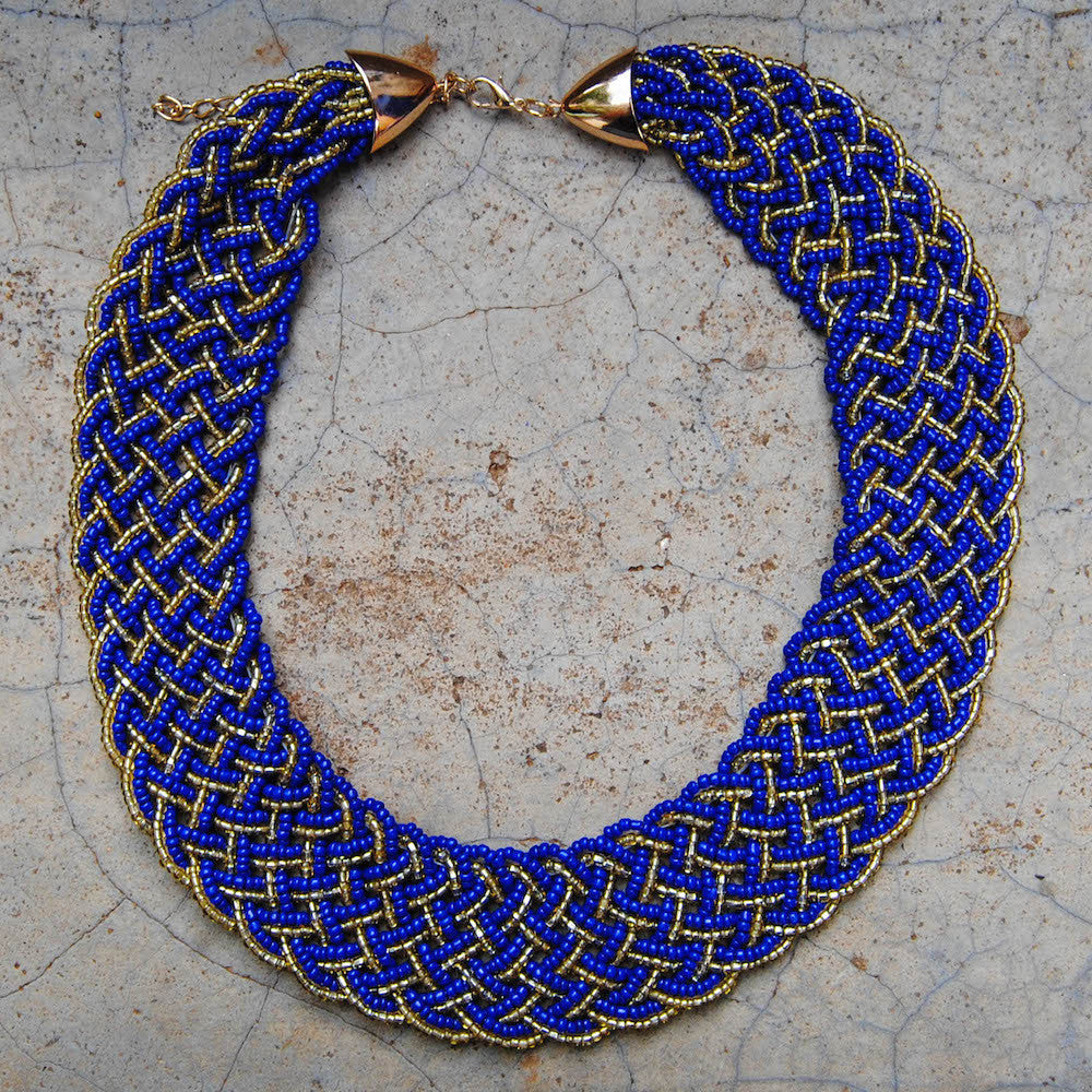 Navy Blue Braided Necklace