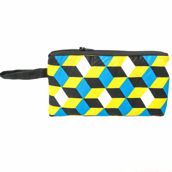 Blue and Yellow Wristlet