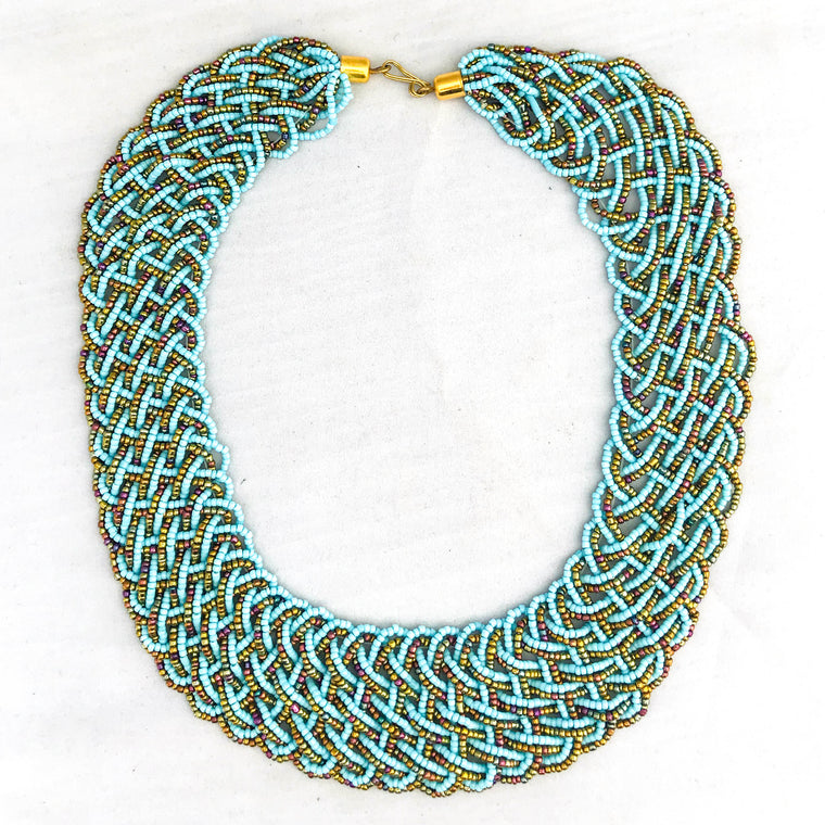 Light Blue and Gold Braided Necklace