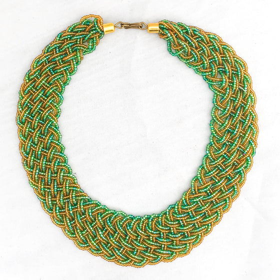 Green and Gold Braided Necklace